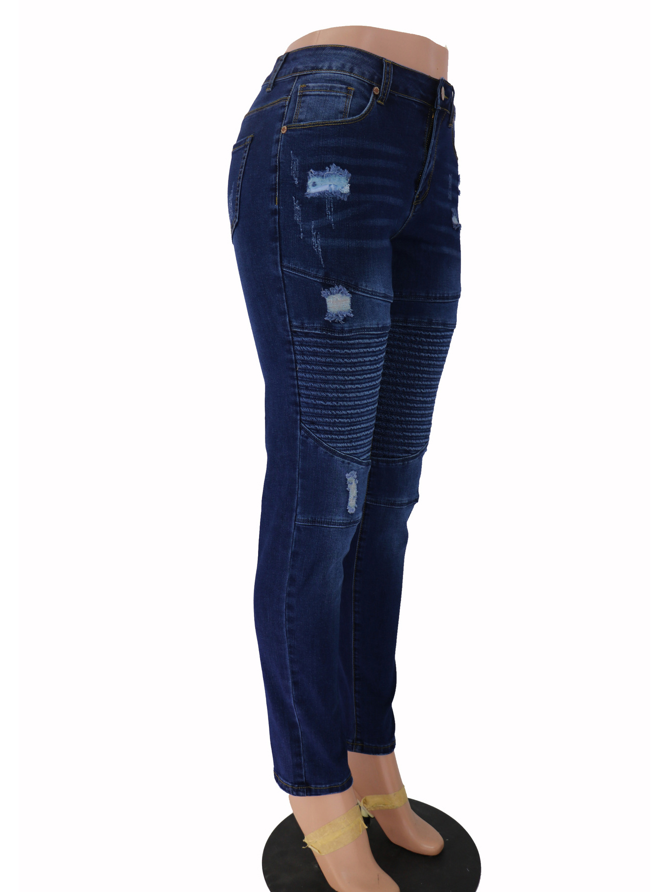 Versatile Simple Style Deep Blue Ripped Skinny Jeans - wholesale jeans suppliers, Custom Made ...